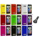 Color Hard Snap On Rubberized Case Cover+Car Charger for HTC Sprint EVO 4G