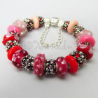 Authentic PANDORA Sterling Silver Charm Bracelet w Red Pink Murano Glass Beads