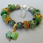 Green Enchanted Forest European Charm Bracelet With Floral Artisan Murano Glass