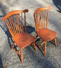VTG Pair Heywood Wakefield Windsor Chairs Brace Back Side chair 405 SIGNED Maple