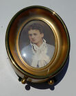 SMALL OVAL GLAZED GOLD METAL PICTURE FRAME - CONVEX GLASS!!!