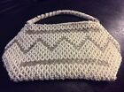 Vintage Purse Small Silver And White Bead Hand Bag 1940S