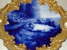 EXQUISITE ANTIQUE Charger LIMOGES Flow Blue COWS Plate GOLD ENCRUSTED