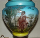 Antique Hand Painted Parlor Oil Lamp Electrified Hunting Scene Hunter Dog