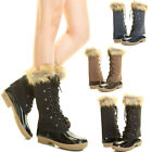 Womens Warm Duck Rain Snow Boot Wellies Mid Calf Tall Knee High Faux Fur Lace Up