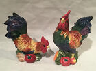 Fitz and Floyd Coq Du Village Rooster Salt & Pepper Shakers Retired