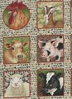 Farm Animal Squares on beigh Cotton Fabric 20 squares New Apparel