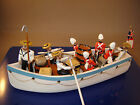 BRITISH COUTTS LEAD MODEL TOY SOLDIERS TENDER BOAT WITH CREW OF MAN OF WAR SHIP