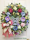 Spring Summer Easter Mother's Day Floral Wreath Door Mackenzie Child's Ribbon