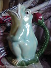 HENRIKSEN IMPORTS large GREEN FROG PITCHER red berry handle CALIFORNIA POTTERY