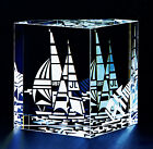 NEW in BOX STEUBEN art Glass SAIL BOAT ENGRAVED CRYSTAL ornamental paperweight