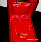 NEW in RED BOX STEUBEN art Glass 14k GOLD ROSE BUD Necklace ornament heart love
