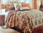 Moroccan Quilt Sham Set, Green/ Orange/ Yellow, Twin Size