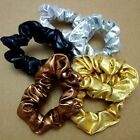 Lot of 6 Gold Silver Black Copper Metallic Scrunchies Elastics Ponytail Holders