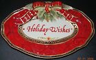 FITZ And FLOYD Holiday Wishes Sentiment Oval Serving Tray Plate 10 inch Damask