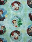 Christmas Old World Santa in Circles Blue 100% Quilt Cotton Fabric BTY