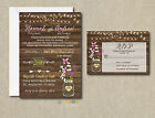 Wedding Invitations Rustic Flowers  Lights 50 Invitations  RSVP Cards