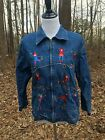 Vintage Life Style Ice Skate Womens Denim Zipper Blue Jean Jacket Embroidered S