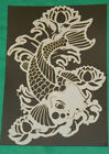 10 milsMylar reusable stencil Coi Fish and water lily design for airbrush design