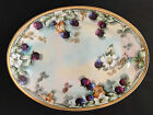 Antique 1898-1923 Bavaria Large Oval Plate Hand Painted Fruits Flowers Signed