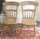 2 Primitive Antique Early Rustic Pince Kitchen Dining Chairs - All Original