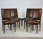 Set of 6 french traditional dining chairs mahogany wood with genuine leather
