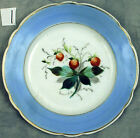 4 Antique Dishes Hand Painted Plum Fruit Scalloped Edge Plates Gold Trim