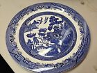 Round Platter Serving Plate Churchill Made in Staffordshire England Blue Willow