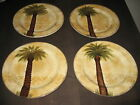 TABLETOPS UNLIMITED 4 BELLAGIO DINNER PLATES PALM TREE DISCONTINUED HAND PAINTED