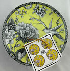 222 FIFTH ADELAIDE YELLOW BIRD SET OF (4)  APPETIZER/DESSERT PLATES NEW! MORE