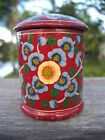 Vintage Kashmir Hand Painted Floral Box for Roll of Stamps