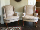 Custom Designer Queen Anne Upholstered Wing back Chairs Pair New Fabric