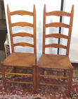 2 Vintage LADDER BACK DINING Chairs with Rush Seats