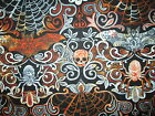 WICKED BATS SKULLS SPIDERS FANCY ORANGE BLACK WHITE GRAY COTTON FABRIC FQ