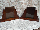 Pair Vintage 1930's Art Deco Carved Oak Photograph Picture Frames Free Standing