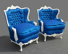 Pair DESIGNER French Provincial BLUE Silk Down Tufted CHAIRS Hollywood Regency