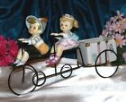 RARE Boy Girl Bicycle Two Head Vase LADY HEADVASE VTG 50'S AUTH JAPAN MINTY