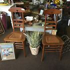 Set Of 2 Antique Wood Cane Seat Chairs Pair Solid Chair rack Ready With Cutout