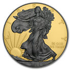 NEW 1oz 999 Silver American Eagle Double Sided Ruthenium and Gold Gilded Coin