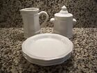 Pfaltzgraff Heritage White Creamer Sugar with Lid and 3 Salad Plates