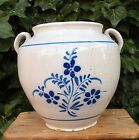 CONFIT POT WHITE GLAZED RARE ANTIQUE FRENCH MARTRES BLUE FLORAL POTTERY 19th