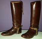WWI US CAVALRY RIDING BOOTS VINTAGE LEATHER w NICKEL SILVER ELITE SPURS