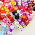 10100PCS 3D Small Puppy Pet Dog Rhinestone Hair Bow Rubber Bands Grooming