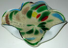 VINTAGE MURANO ART GLASS ASHTRAY BOWL METALLIC SILVER PEARL & CONFETTI COLORS