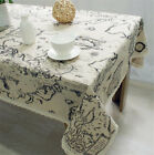 World Map Vintage Pattern Sunflower Dinning Coffee Table Cotton Linen Cloth