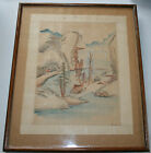 Antique Vintage Hand Painted Japanese/Chinese Silk Picture Wood Frame Water Col