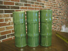 3 CERAMIC LIBBEY GREEN BAMBOO TIKI GLASS COCKTAIL BAR WARE
