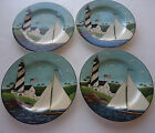 Coastal Breeze FOUR 4 SALAD PLATES Warren Kimble Sakura LIGHTHOUSE FLAG SAILBOAT