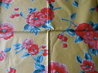 Antique Vintage Wild Roses Floral Berry Chintz Fabric ~ Pink Coral Red Yellow