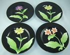 Fitz & Floyd Black Plates Fleurs De Minuit Fine China  Set of 4 Vintage